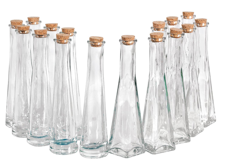 glasflaschen geolinie 16 flaschen mit verschlusskorken. Black Bedroom Furniture Sets. Home Design Ideas