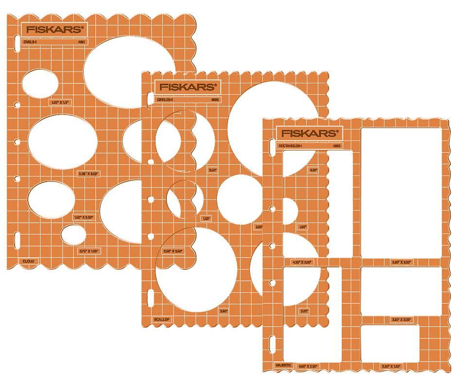 Rechtecke Kreise Fiskars ShapeCutter Schablonen 3er Set Ovale