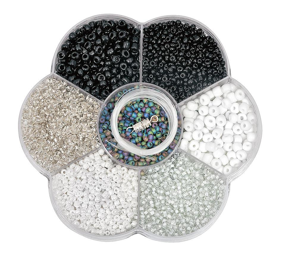 Perlensortiment ca 90g acrylperlen in grau wei schwarz for Tafelfarbe grau