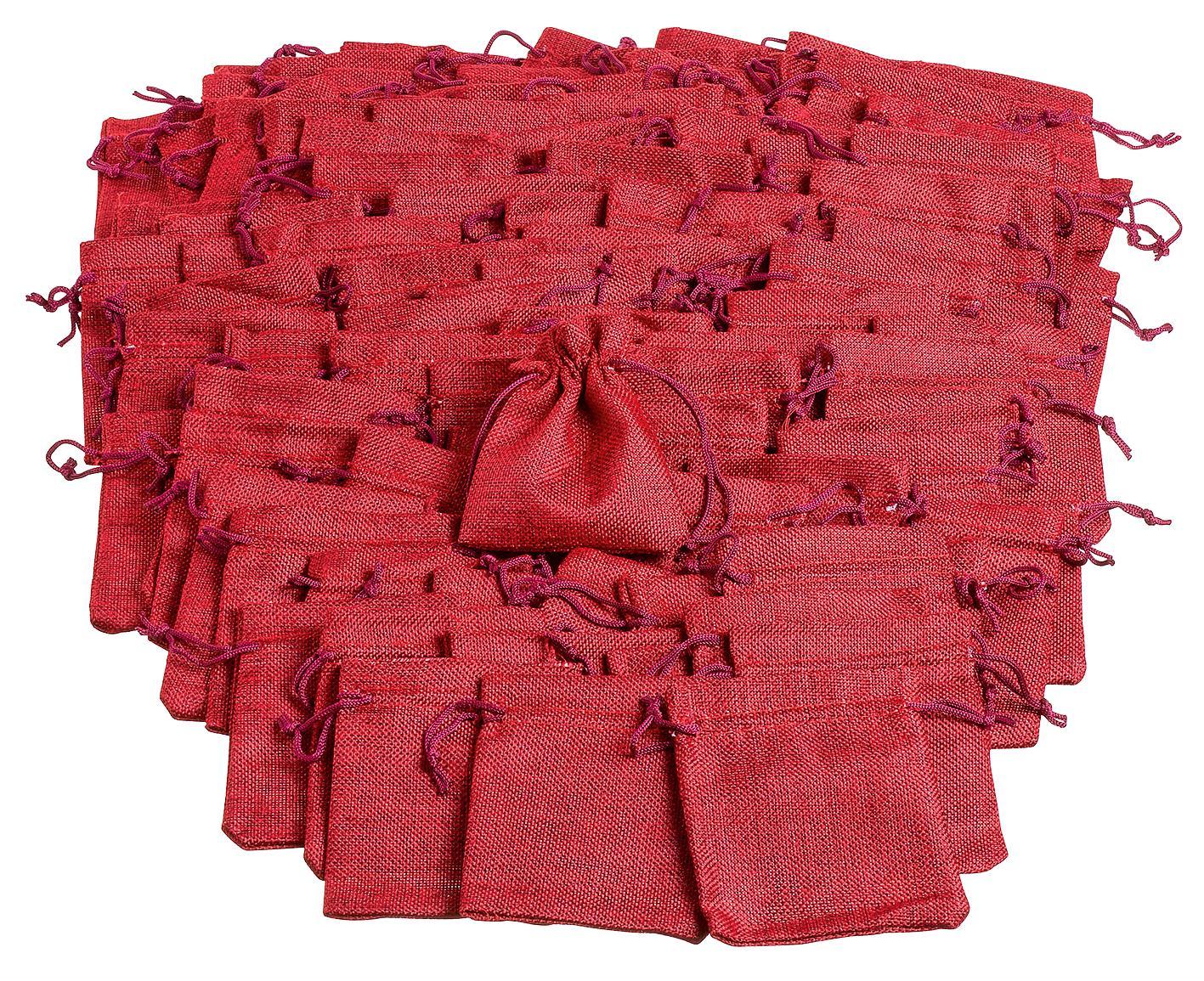100 sachets en jute rouge gros acheteurs vbs loisirs cr atifs vbs hobby. Black Bedroom Furniture Sets. Home Design Ideas