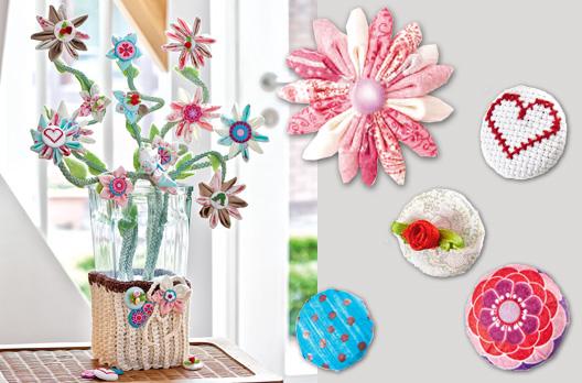 Ces fleurs en tissu et boutons ne faneront pas. Grâce à de jolis petits morceaux de tissu, aux boutons et à la pince spéciale imaginisce, vous créerez